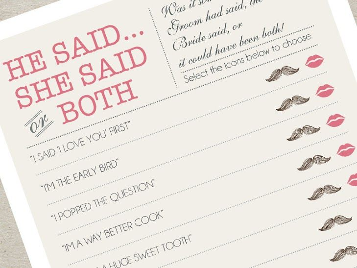 "Add a cute touch to your wedding with a ""He said, She said"" handmade game."