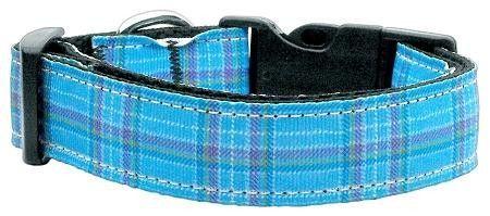 Plaid Nylon Collar Blue Large
