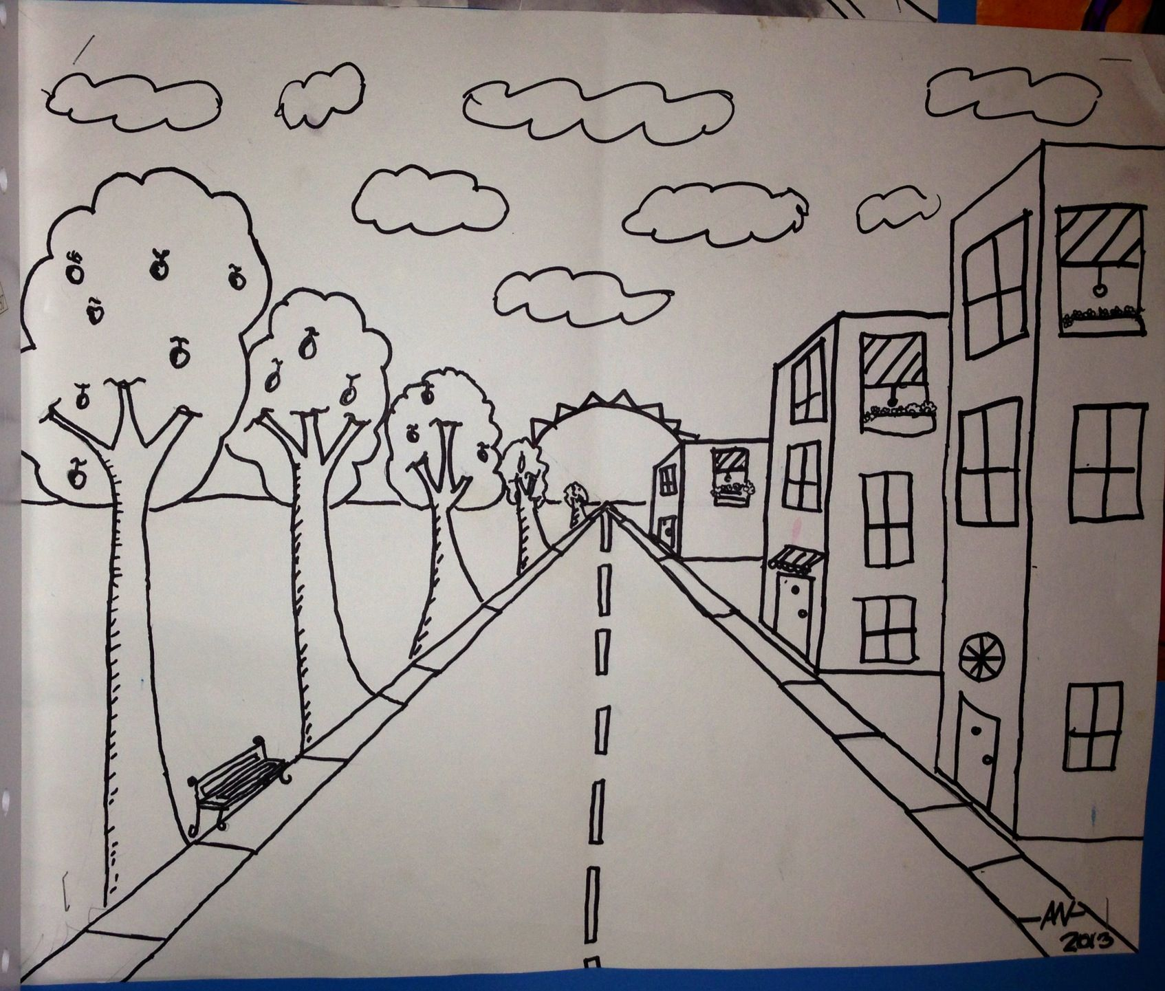 1 Point Perspective Art Project