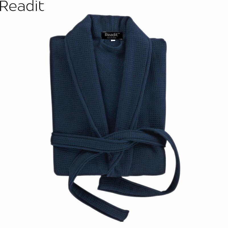 Readit 100% Cotton Winter Robes For Men Warm Bathrobes Long Mens ...