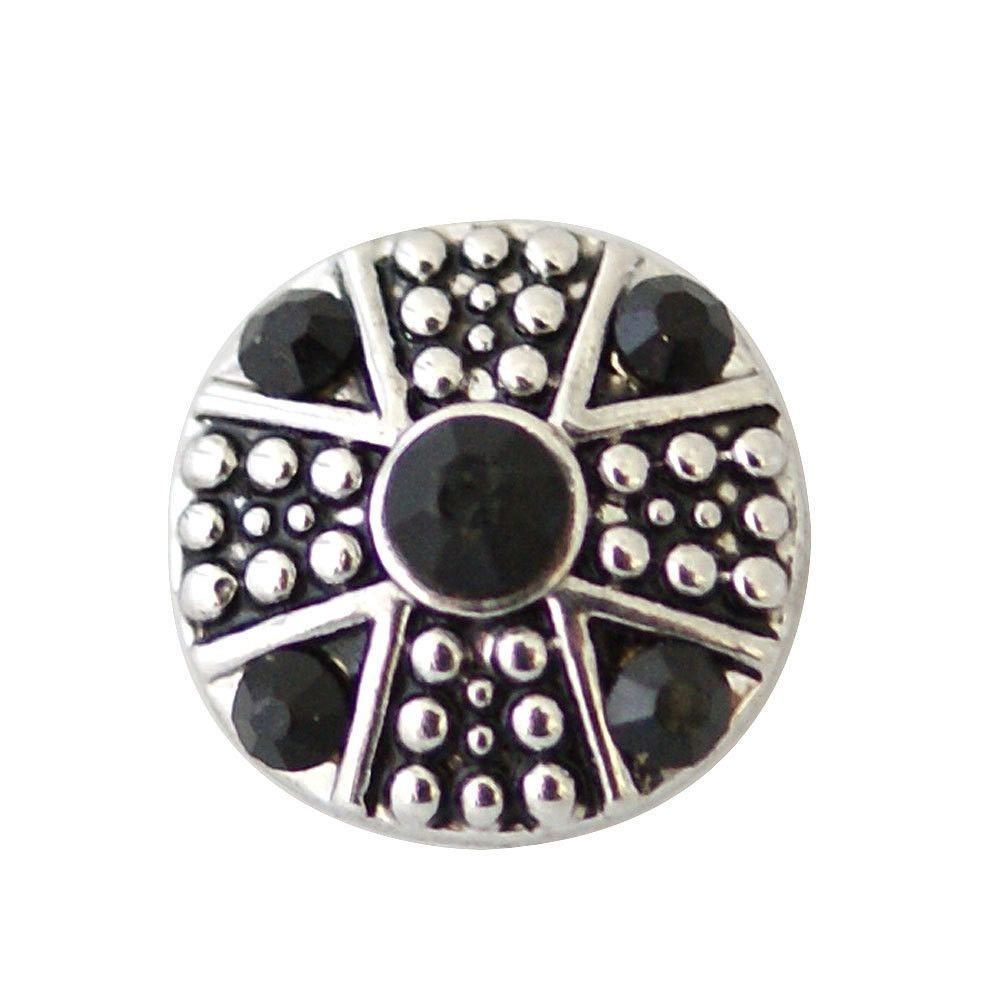 1 PC 12MM Black Rhinestone Silver Snap Candy Charm KB7233-s CC1861