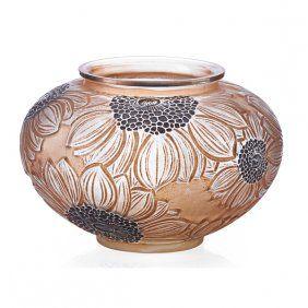 "LALIQUE ""Dahlia"" Vase, Enameled And Patinated"