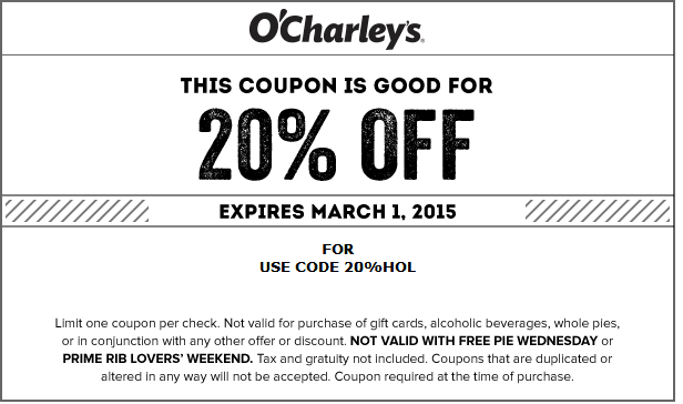 picture about O Charley's Printable Coupons known as Pinned February 27th: 20% off at OCharleys dining places