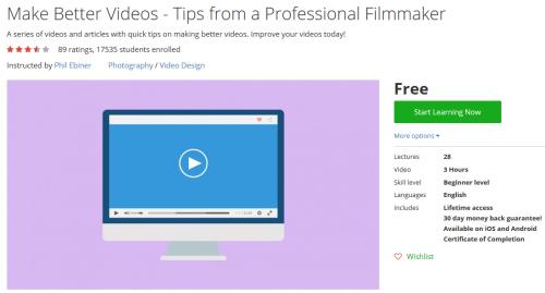 Make Better Videos - Tips from a Professional Filmmaker http://ift.tt/1UcVvwk  #udemy #coupon #discount