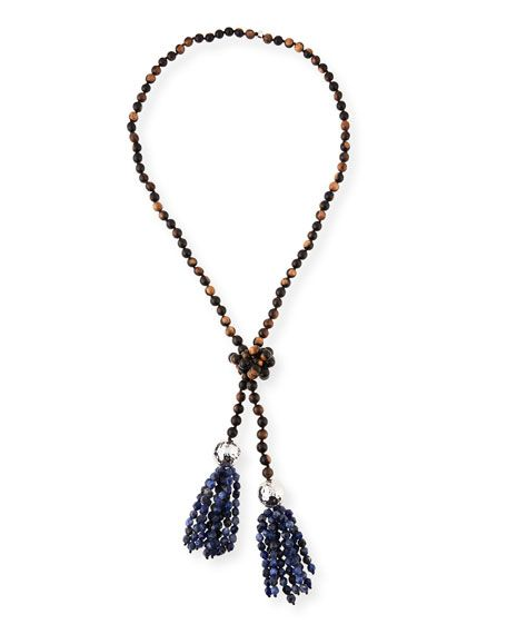 Nest Beaded Pyrite Lariat Necklace
