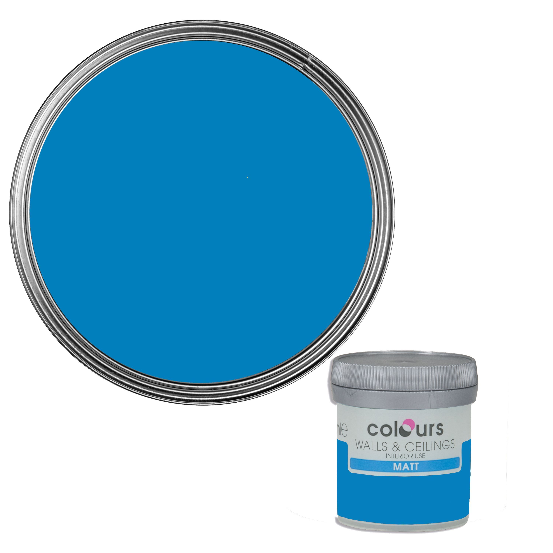 Colours Electric Blue Matt Emulsion Paint 50ml Tester Pot Departments Diy At B Q