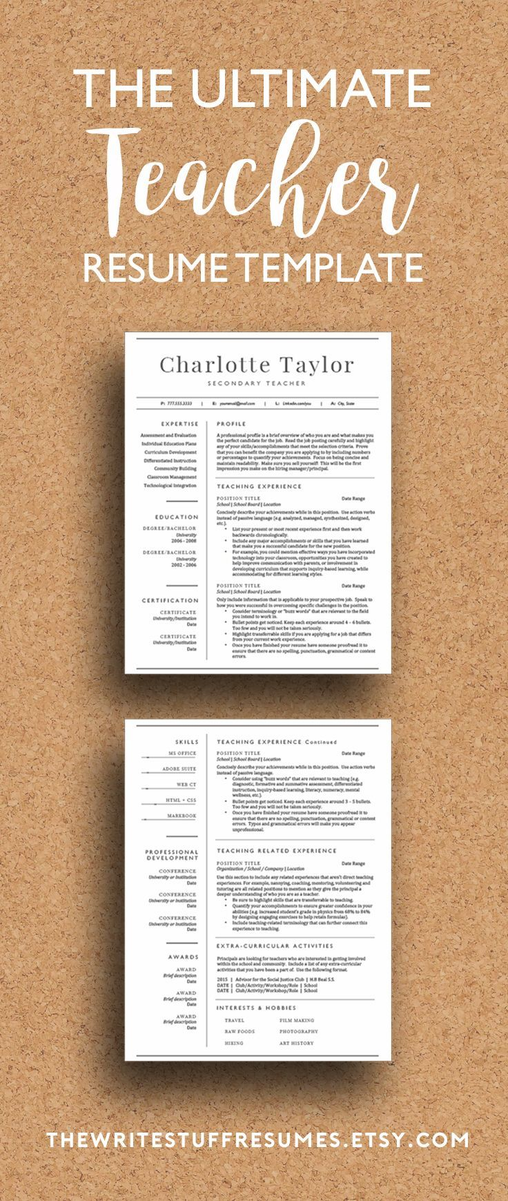 2 page teacher resume template for word includes cover