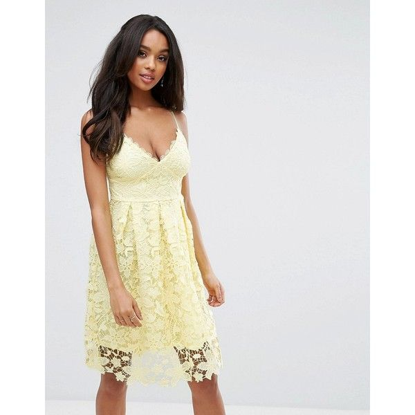 Lipsy Midi Dress In Crochet Lace (£85) ❤ liked on Polyvore featuring dresses, yellow, embellished midi dress, strappy dress, embellished dress, print dresses and midi dress