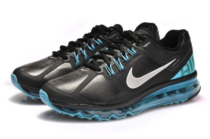 sale retailer 247ba 0158b Hot Cheap Nike Air Max 2013 Leather Cyan Black Mens Shoes Online, Wholesale  new Nike Air Max 90 Mens