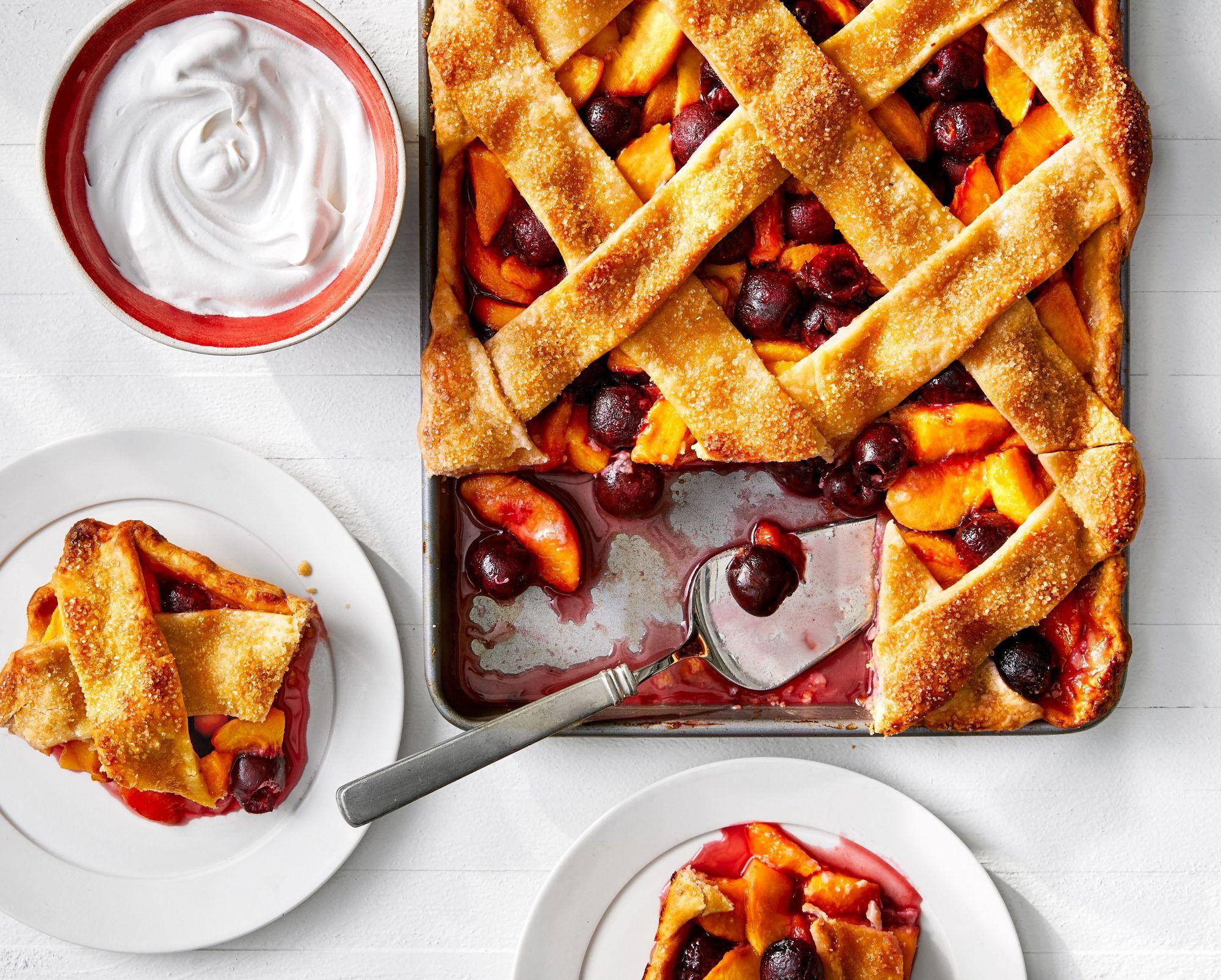 Stone Fruit Lattice Slab Pie   Recipe in 2020   Slab pie ...