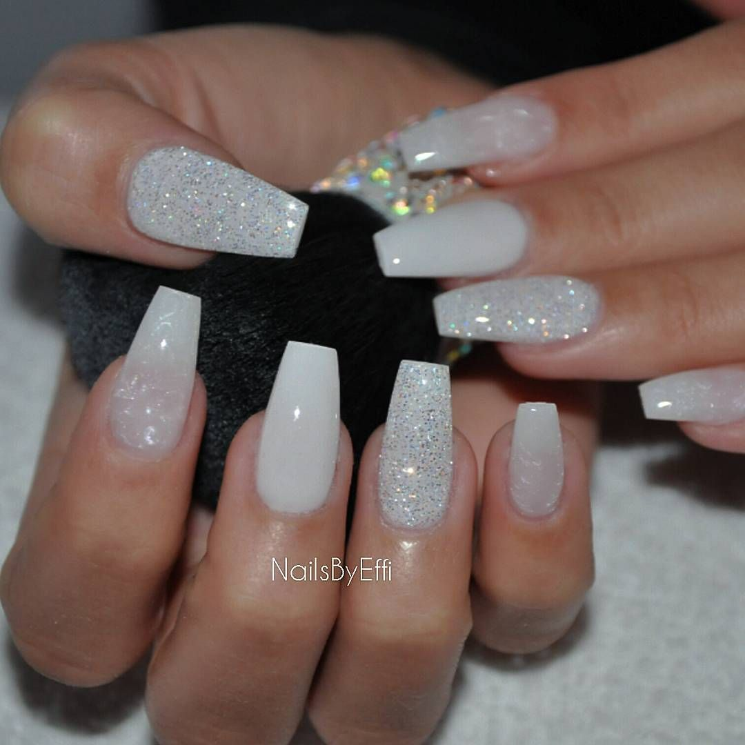 White pearl with diamond tapered square tip long nails # ...
