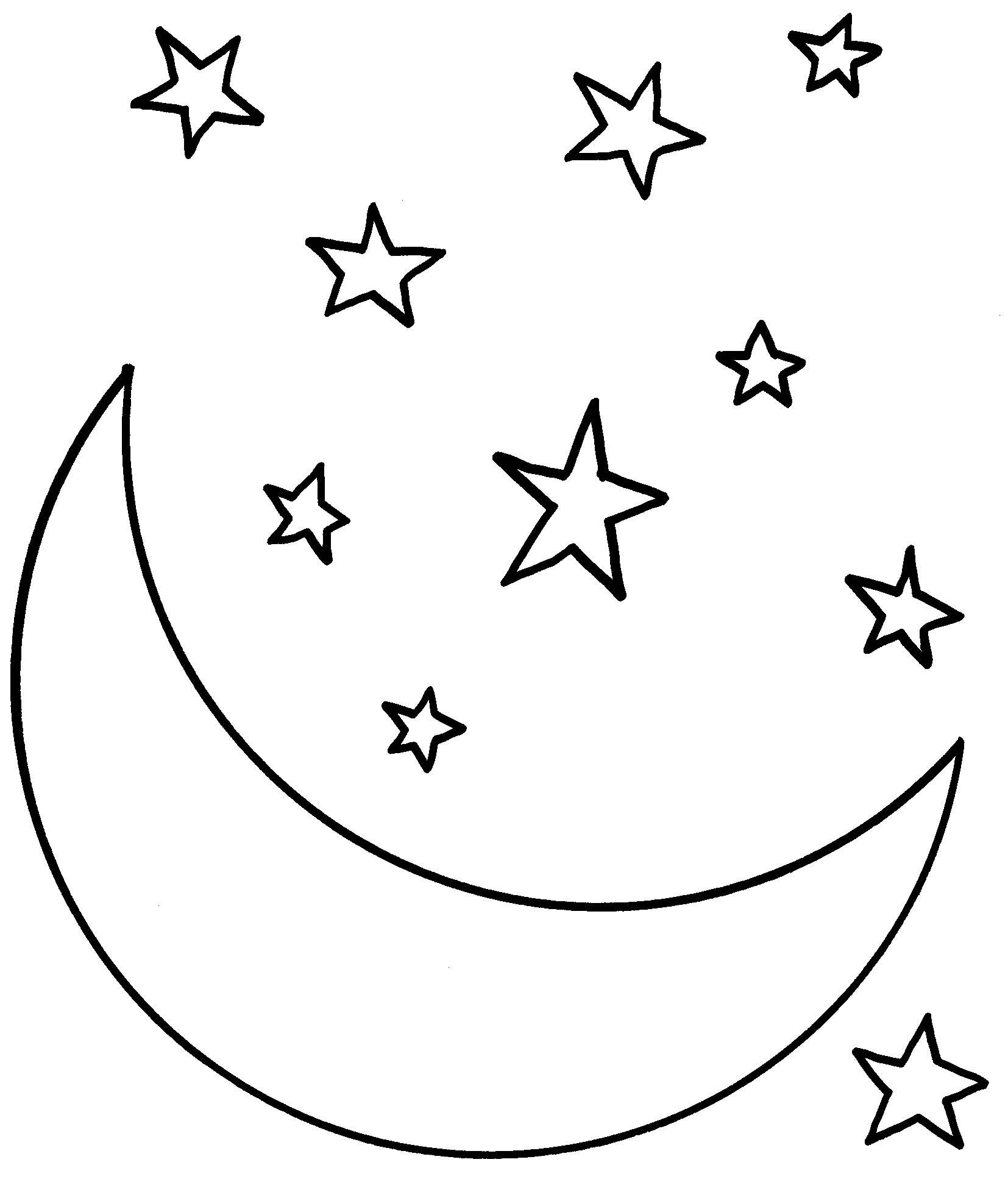 Collection Of Moon With Stars Drawing Moon Coloring Pages