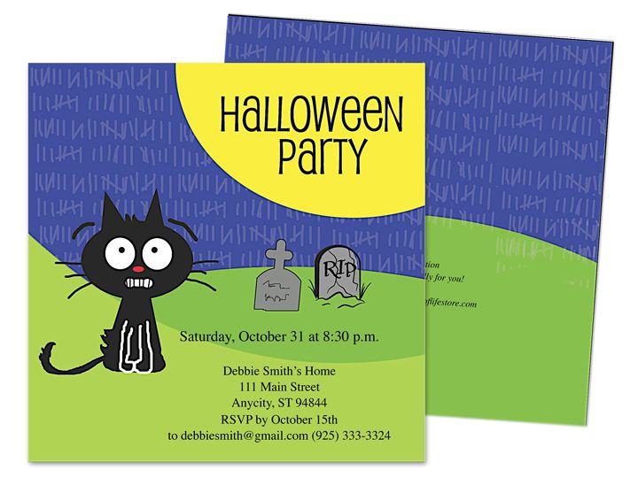 Fraidy cat rip halloween party invitation template