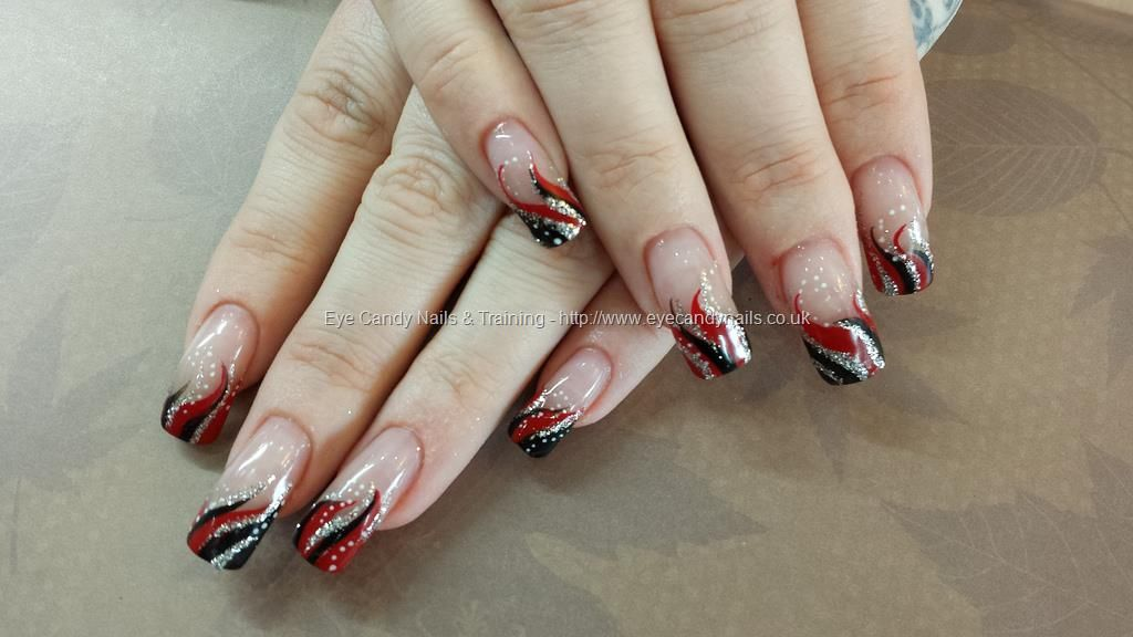 red+black+and+silver+freehand+polish   nails   Pinterest   Red black ...