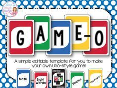 Game O Create Your Own Uno Game Fully Editable Template Card Games Math Basic Math