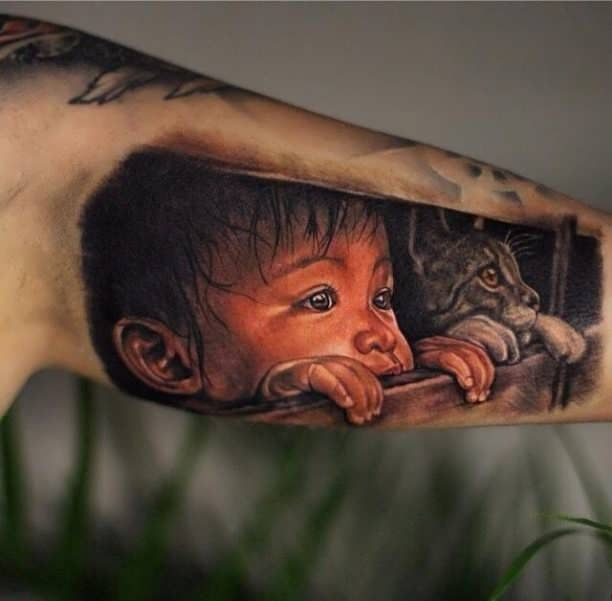 Tattoo child and cat 3D  - http://tattootodesign.com/tattoo-child-and-cat-3d/  |  #Tattoo, #Tattooed, #Tattoos