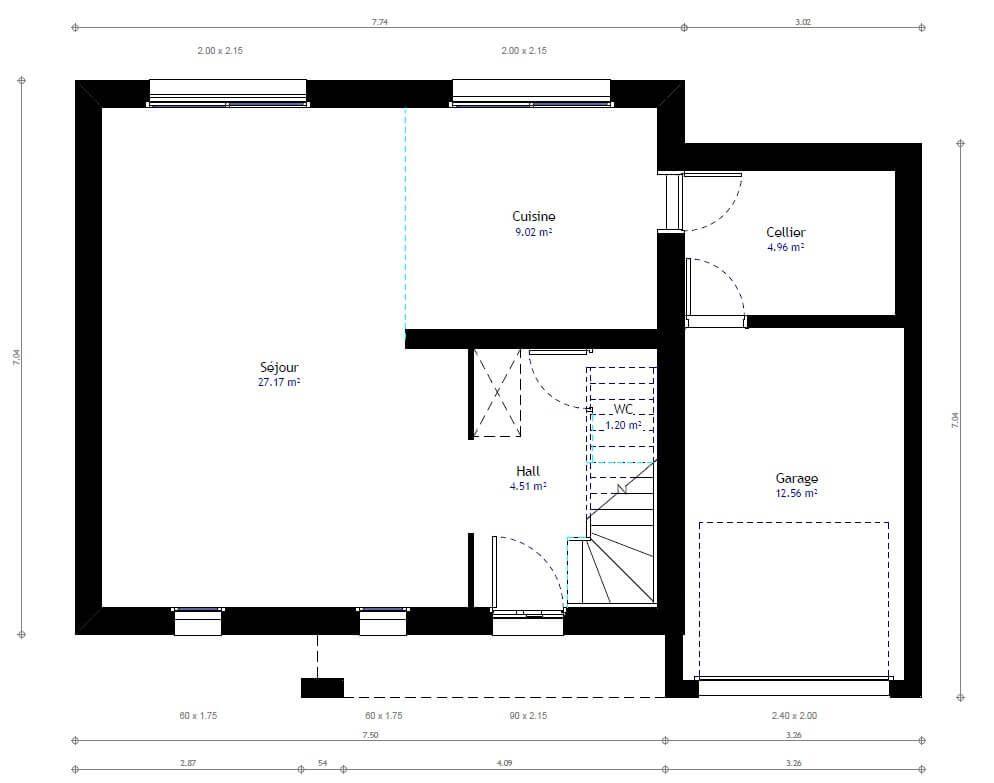 100-plan-maison-individuelle-a-etage-3jpg (728×801) Nouvelle