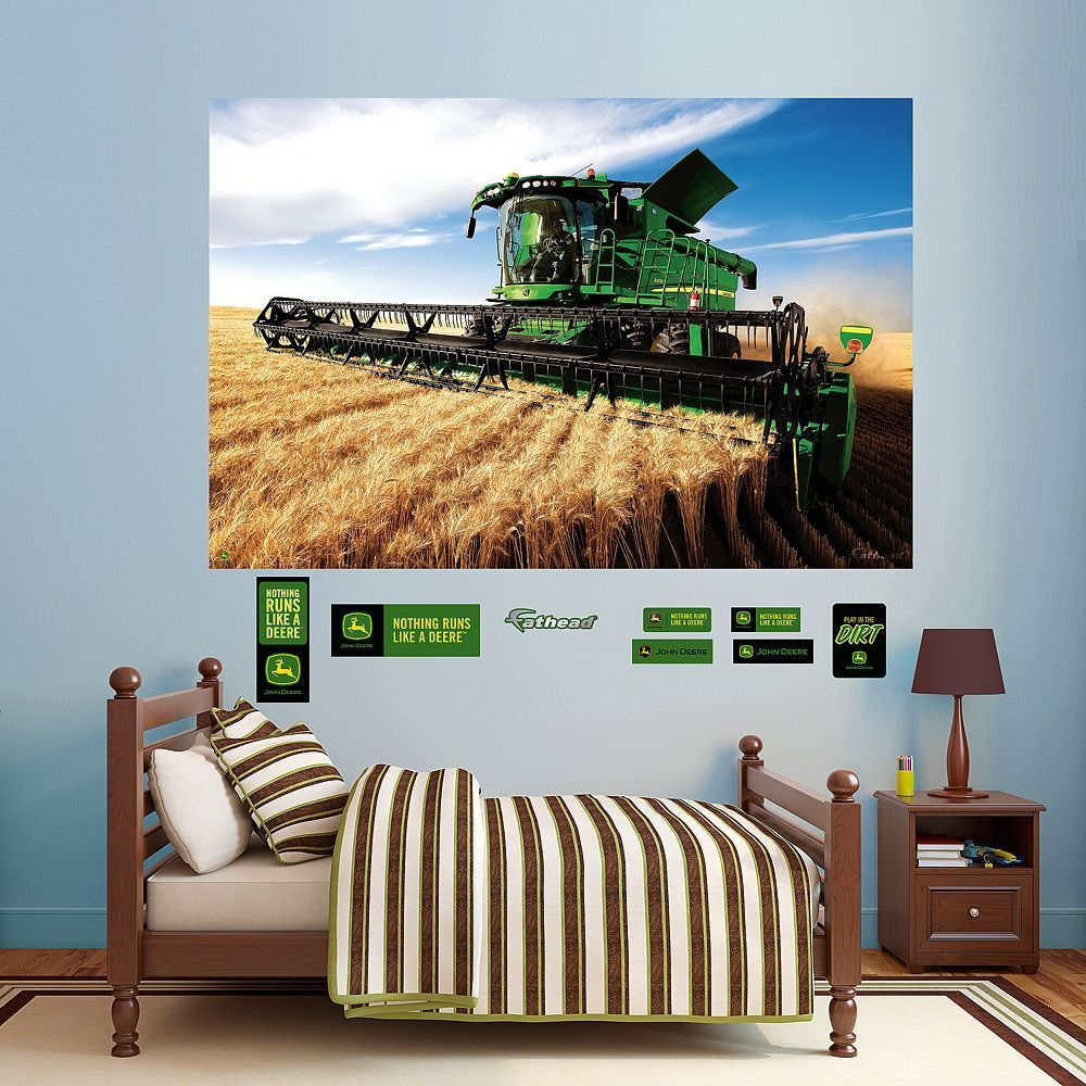 John Deere Combine Mural Wall Decals by Fathead Multicolor John