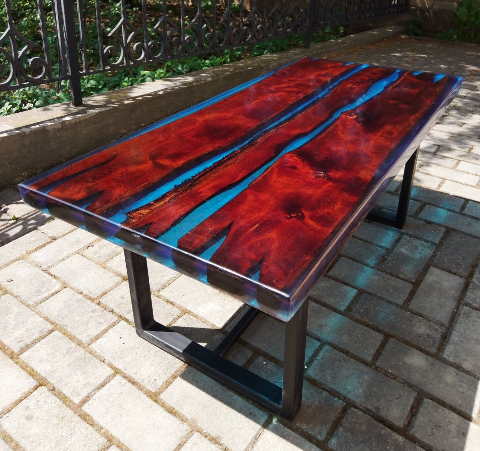 - Wood Epoxy Resin, Wooden Coffee Table, Red Coffee Table, Rustic