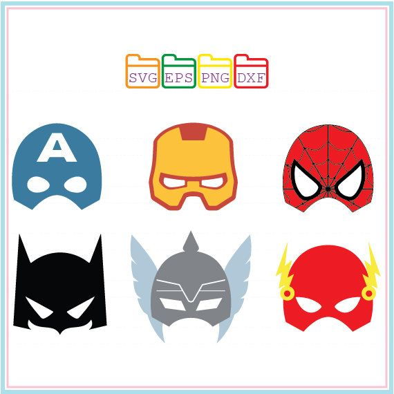 Superhero SVG,Mask,Captain America,Ironman,Spiderman