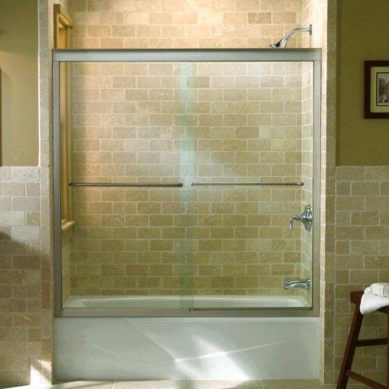 K 702211 L Fluence Frameless Sliding Bath Door With 1 4 Inch Glass Kohler Shower Doors Frameless Shower Doors Tub Doors