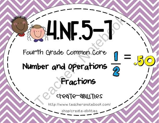 4th Grade Common Core Nf 5 7 Fraction Decimals Math Tasks Exit Tickets I Cans Product From Create Abilities On Teachersnotebook Com Math Classroom Math Lessons Fourth Grade Math
