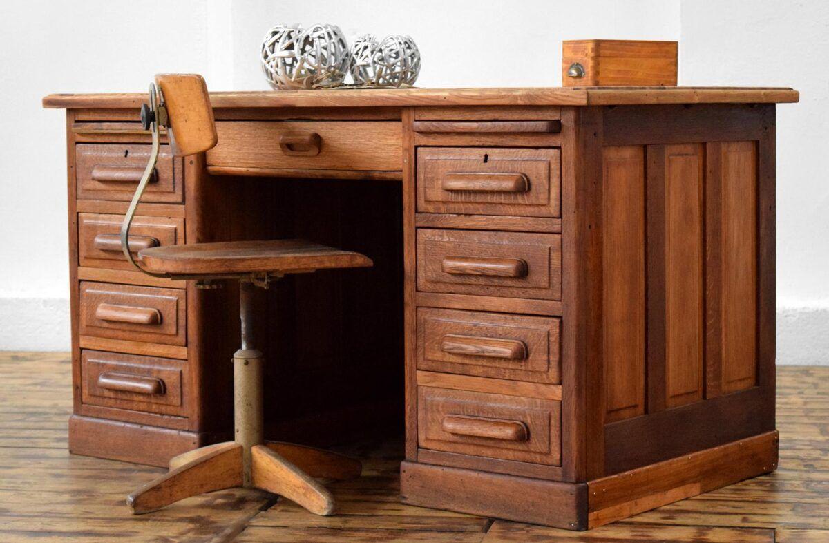 Schreibtisch Eiche Massiv Kontor Antik Vintage Alt Holz Art Deco Burotisch Bauhaus Yesterday Indust In 2021 Schreibtisch Eiche Massiv Schreibtisch Eiche Eiche Massiv