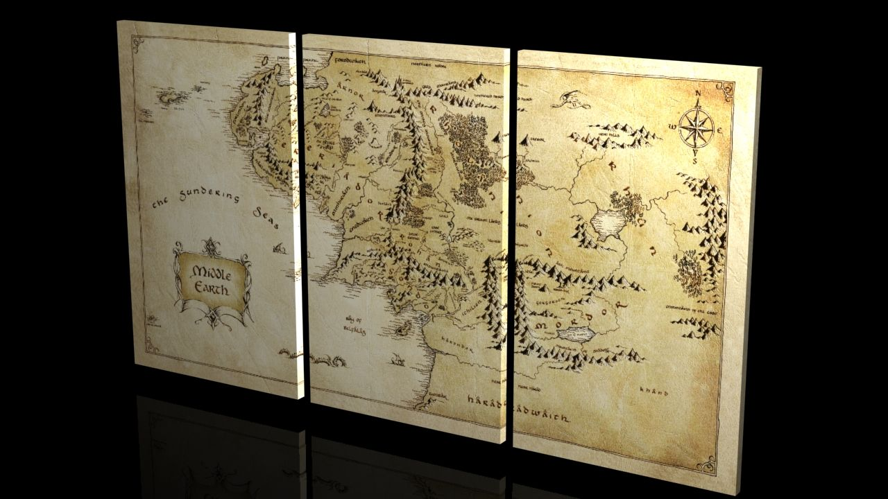 canvas map of middle earth   Google Search   Nerd Decor   Middle