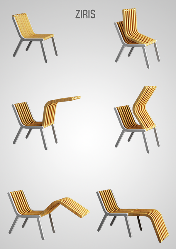 Foldable wooden chair concept.