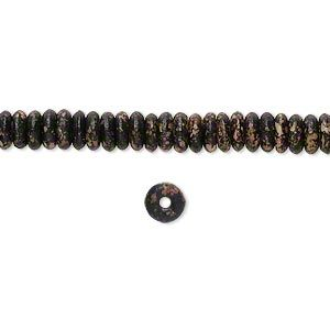 """Bead, bone, black and beige, 5x2mm hand-painted rondelle, Mohs hardness 2-1/2. Sold per 15-1/2"""" to 16"""" strand."""