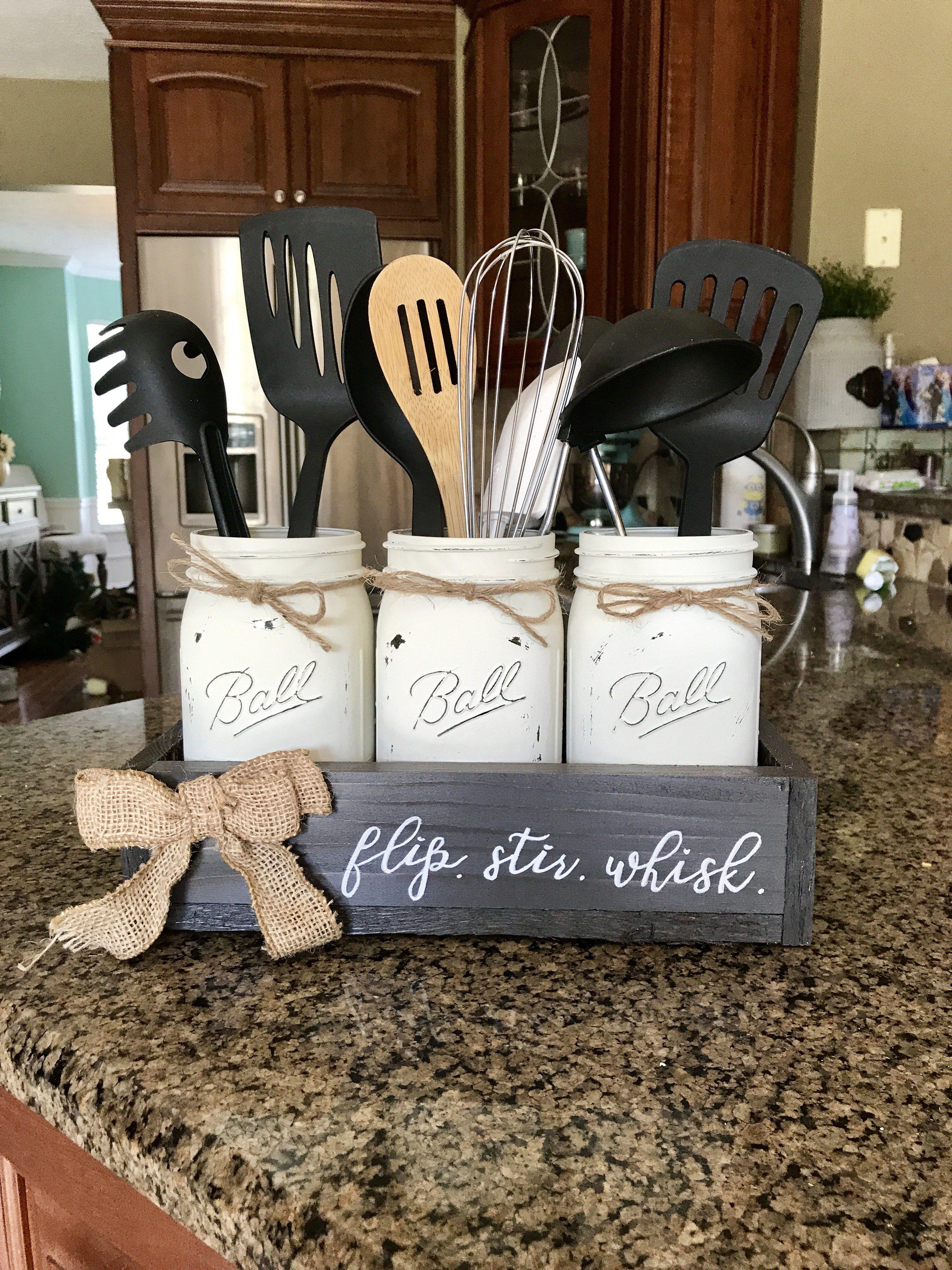 Farmhouse flip stir whisk mason jar utensil holder