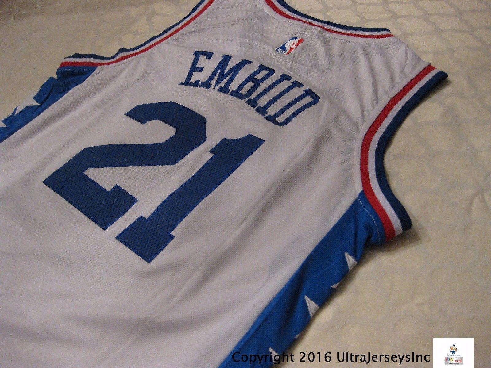 Joel Embiid #21 Philadelphia 76ers Sixers White 2016 Swingman Jersey Large L
