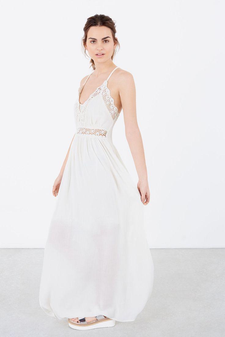 estilos frescos comprar baratas tienda del reino unido Vestido blanco largo, de viscosa con detalles en croché ...