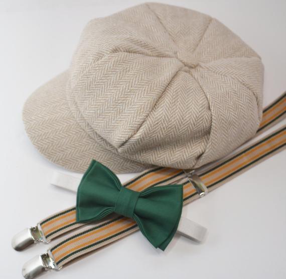 7ff1b53072b SET Herringbone LIGHT TAN Newsboy Cap Hat   Juniper Green Bow Tie   Tan  Striped Suspenders   Kids Baby Page Boy   Newborn - 10 Years