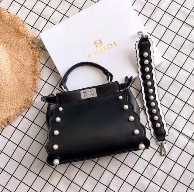 0ef3752486dc Fendi peekaboo pearl bag black  fendihandbags