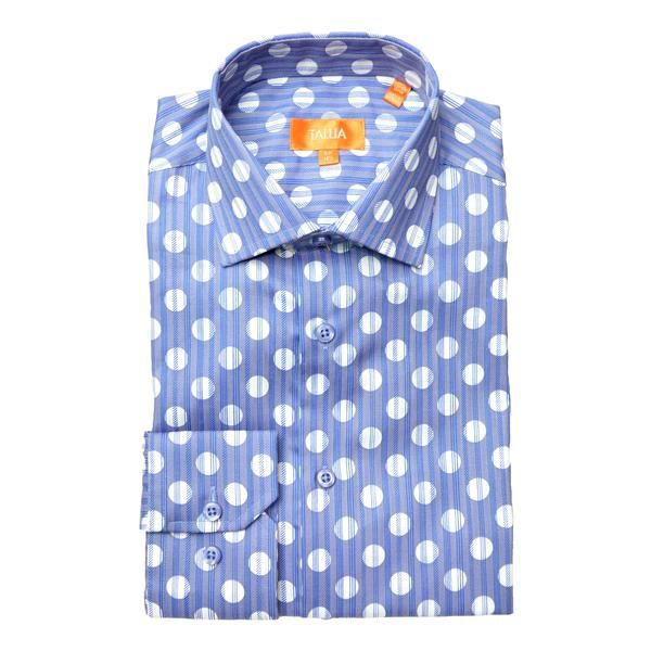 Tallia Orange Men/'s Cotton Casual Dress Polka Dot Fitted Button Down Shirt Blue