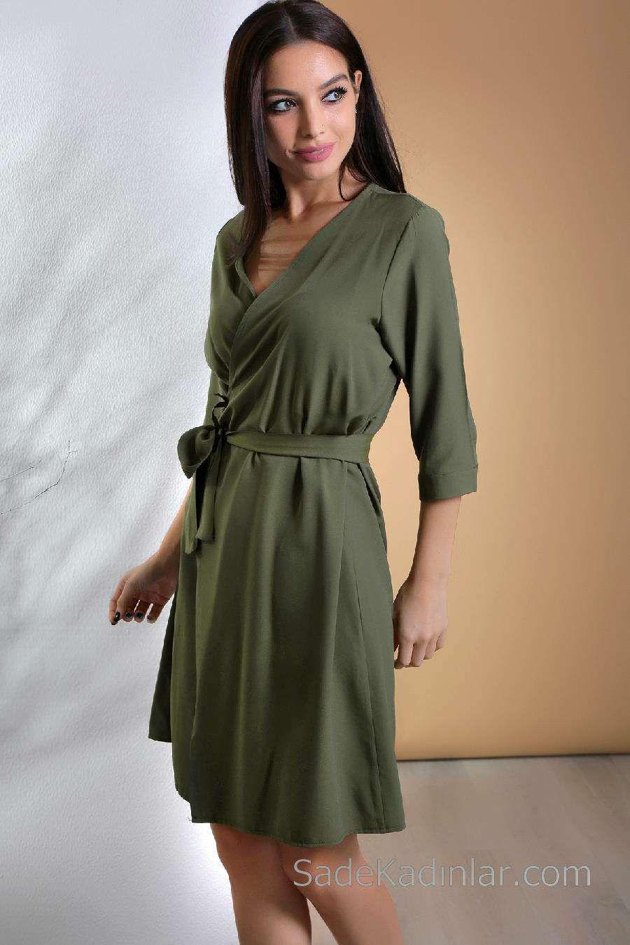 2020 Gunluk Elbise Modelleri Yesil Kisa V Yakali Belden Kusak Baglamali Elbise Modelleri Elbise The Dress