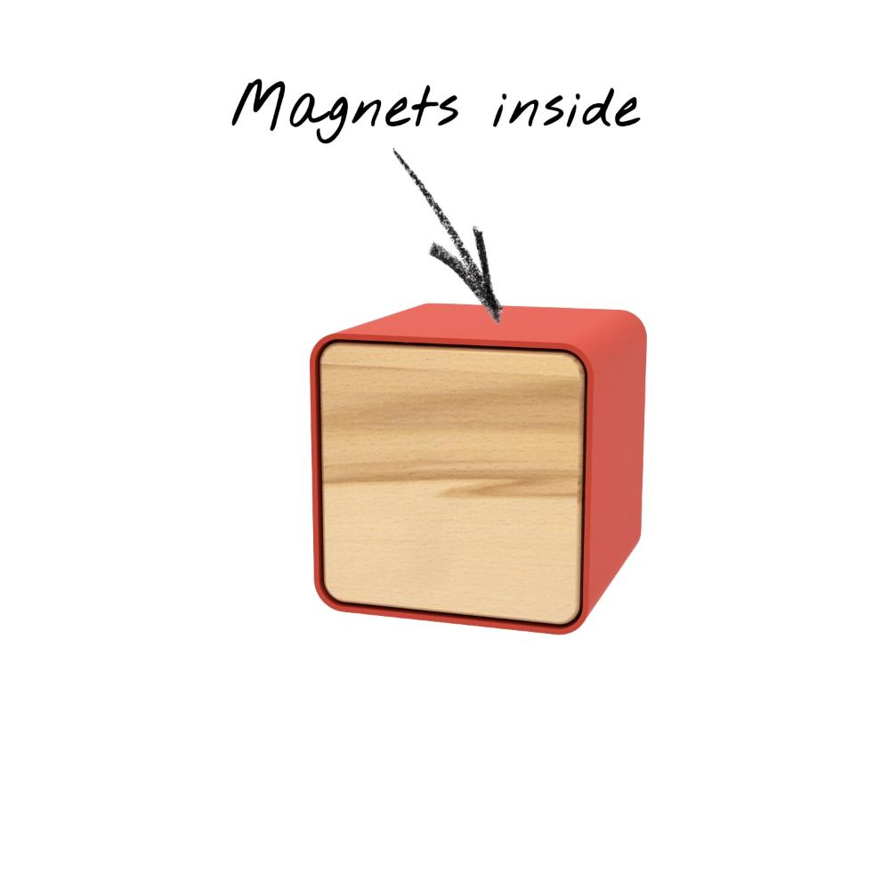 Wandregal Box Magic 6 Holz Buche Metall Rot Rund Mobel