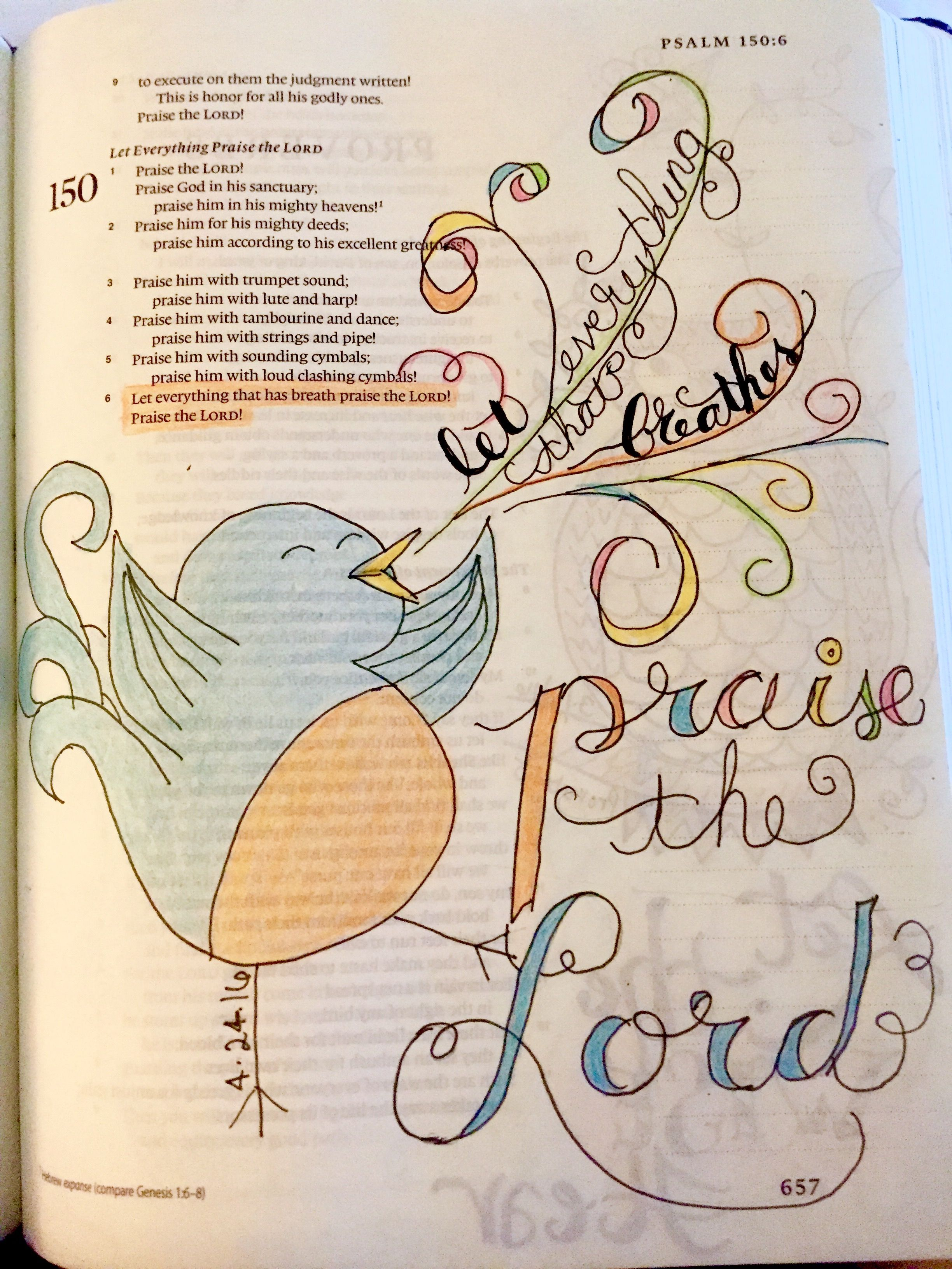 Bible Journaling Psalm 150:6 Let everything that has breath Praise the Lord!