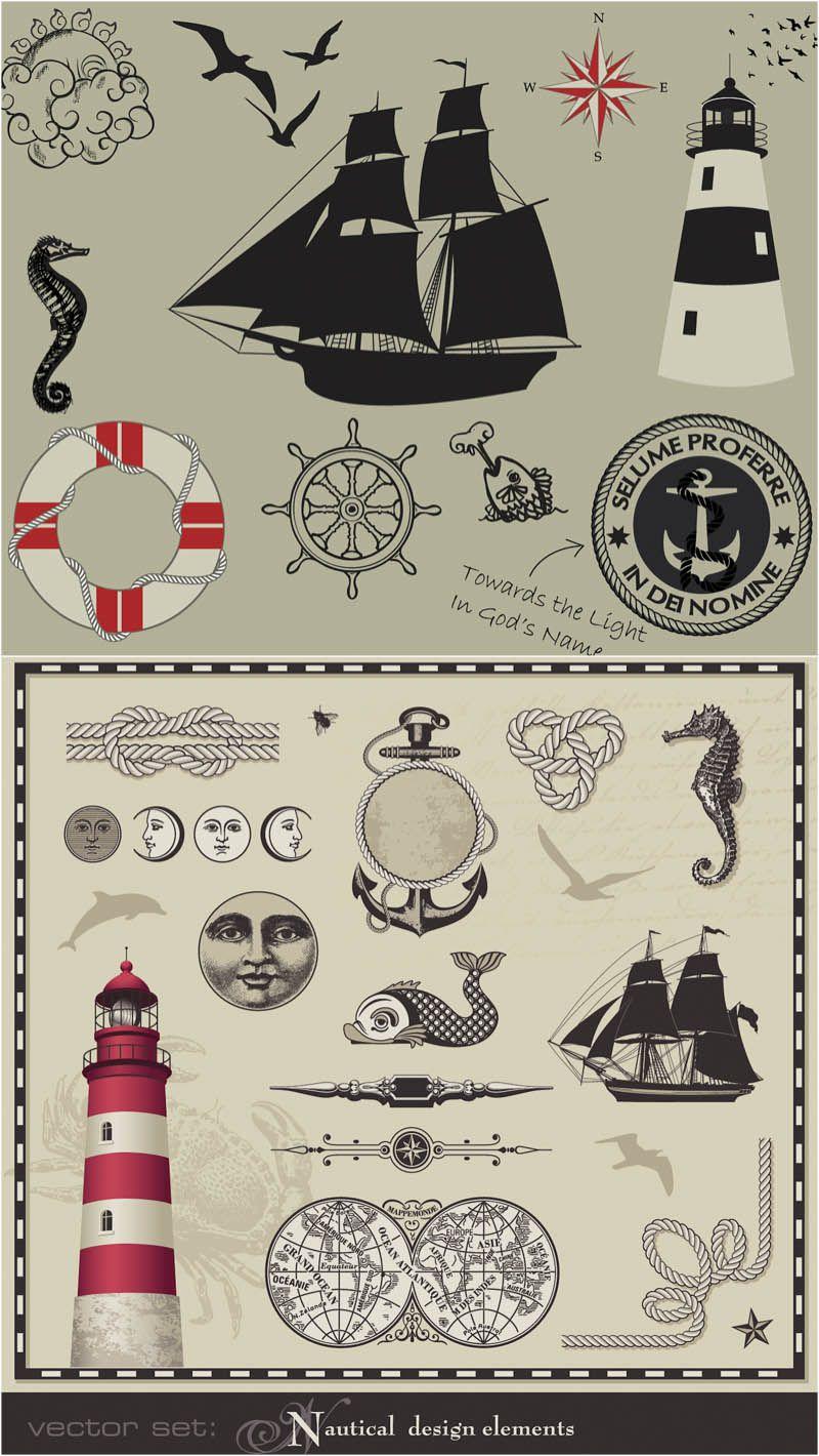 Vintage Nautical Illustrations Vector Free Stock Vector Art Illustrations Eps Ai Svg Cdr Psd Vintage Nautical Vintage Graphics Nautical Design