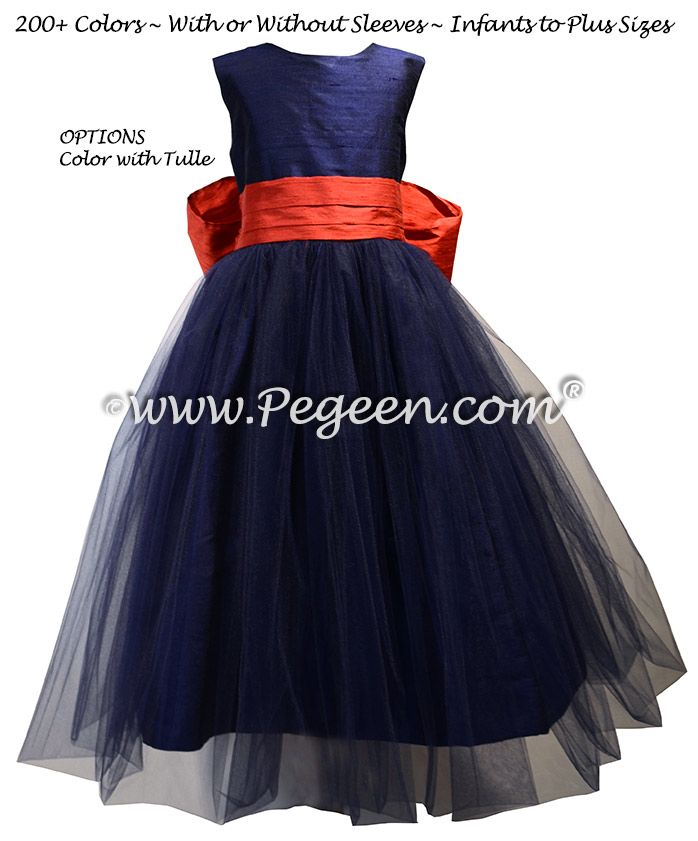 ce7a4bfcdf3 Navy and Brick Red Tulle and Silk flower girl dresses - Style 356 ...
