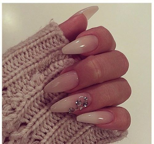 clear gel nail design with gems coffin nails pinterest