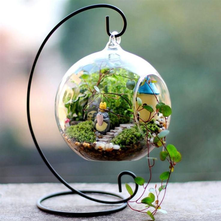 Photo of Set of 4 | 4″ Air Plant Holders Hanging Glass Artificial Terrariums Plants