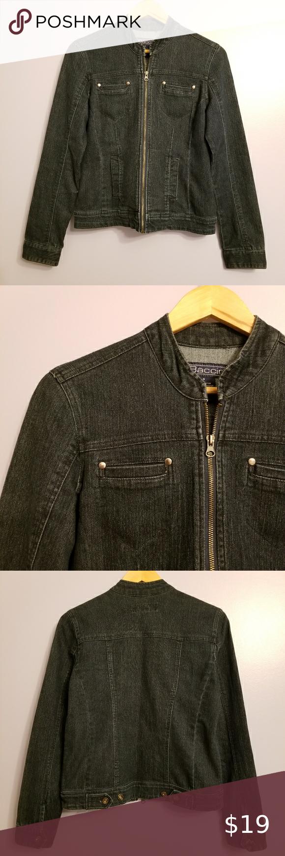 Baccini Zippered Jean Jacket Zipper Jeans Jean Jacket Clothes Design [ 1740 x 580 Pixel ]