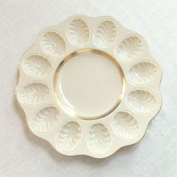 Vintage Lenox china deviled egg plate cream with 24k gold trim & Vintage Lenox china deviled egg plate cream with 24k gold trim ...