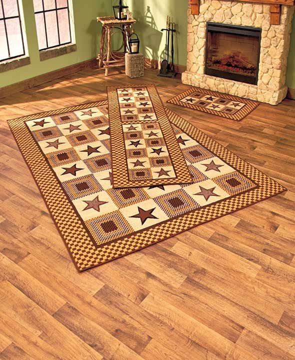 Country Star Rug Collection Burgundy Mocha Runner Accent