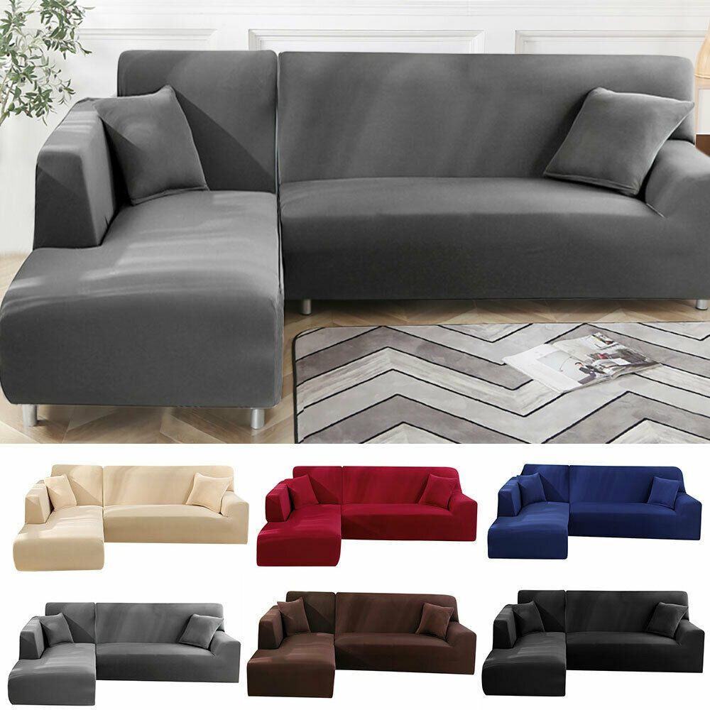 2pcs L Shape Stretch Elastic Fabric Sofa Cover Sectional Corner Couch Covers Us Sofa Slipcover Ideas Of Sofa Slipc In 2020 Slipcovered Sofa Corner Couch Slipcovers