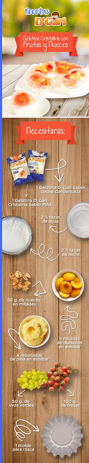 Vierte ½ taza de Cristalina en el molde, cuaja. Parte 2 rebanadas de piña y déjalas sobre la capa cuajada, deja un espacio entre cada una. Pica las fresas, corta las rebanadas de piña y los duraznos en almíbar. Entre los espacios de las rebanadas de piña, coloca la mitad de las porciones de fruta picada; después vierte ¼ de taza de Cristalina, refrigera. Continúa el proceso las veces necesarias. Vierte la Gelatina Leche Condensada y cuaja, desmolda en baño María y colócala en una charola.
