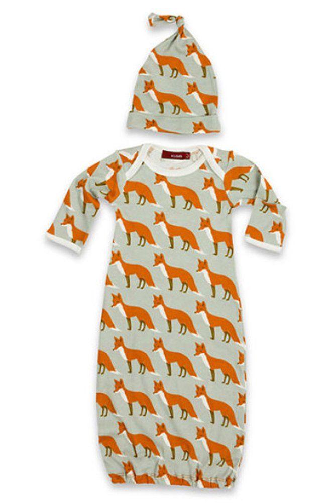 Milkbarn Organic Newborn Gown & Hat Set (0-3 Months, Rose Goose ...