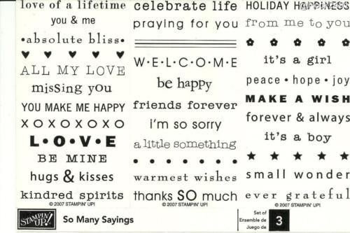 Stampin Up So Many Sayings Stamp Set Retired Sentiments Love Thankyou Baby Hearts Stars Dots Holida Stampin Up Stamp Set You Make Me Happy